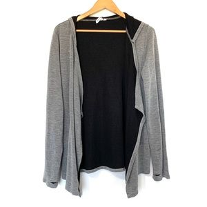Cable and gauge jersey knit open hooded cardigan